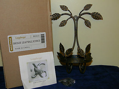 Longaberger Metal Works Bronze Leaf Wall Sconce New In Box