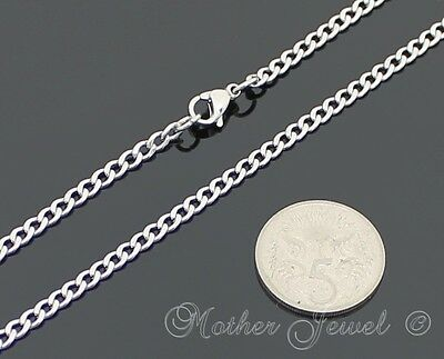 50Cm Silver 316L Stainless Steel 3Mm Curb Chain Mens Ladies Boys Girls Necklace