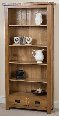 Cotswold Solid Rustic Oak Large Bookcase Office Storage Display Wooden Furniture