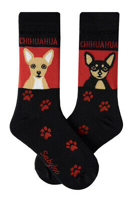 Chihuahua Socks Lightweight Cotton Crew Stretch Egyptian Made