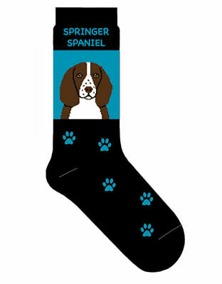 Springer Spaniel Socks Lightweight Cotton Crew Stretch