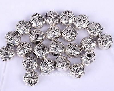 50pcs New arrival Tibetan Silver Buddha's Head Loose Beads for jewlery charms