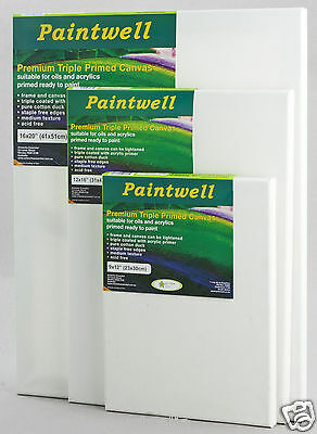 "Pack 10 Paintwell Canvas 6x 6""(15x15cm),18mm stretcher"