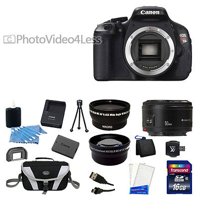 USA Canon EOS Rebel T3i 600D with Canon 50mm 3 Lens + 16GB DSLR Camera Kit NEW