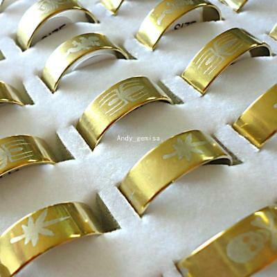 wholesale jewelry lots 20pcs gold plated stainless steel rings new free shipping
