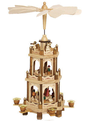 """German Christmas Pyramid Nativity Play 3 Tier Carousel 18""""with 6 Candle Holders"""