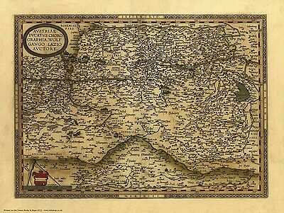 Austria in 1570 - reproduction of a old map by Abraham Ortelius