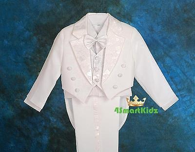 5 Pcs Set Formal Wedding Tuxedo Suit Vest Christening White Boy Baby Size 0 #011