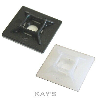SELF ADHESIVE CABLE TIE BASE MOUNTS, STICKY BACKED, BLACK/WHITE, 19mm 25mm 28mm,