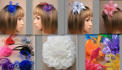 WEDDING FASCINATOR SMALL HAT, FLOWER, FEATHER & PEARLS COMB CLIP  or CORSAGE PIN