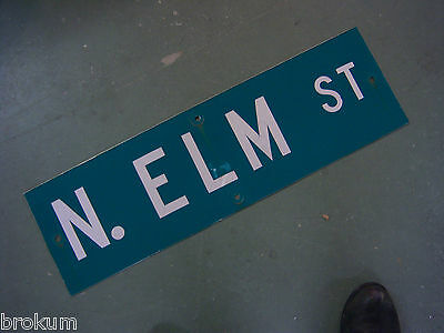 Vintage ORIGINAL N. ELM ST STREET SIGN WHITE LETTERING ON GREEN BACKGROUND