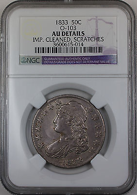 1833 Bust Silver Half Dollar, NGC AU Details Imp. Cleaned/Scratched, Overton-103