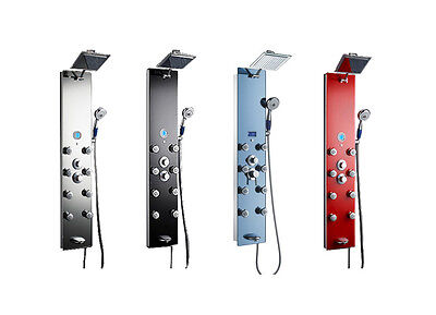 New Tempered Glass Shower Panel Tower Massage Jets With Rain Head