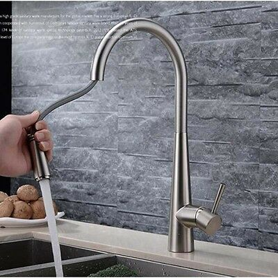 new spray new pull out  kitchen faucet sink  mixer tap brushed nickel