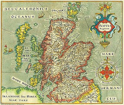 Old vintage map of Scotland in 1637 - reproduction of a map by William Hole