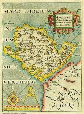 Vintage old map of Anglesey in 1637 - reproduction of William Hole original