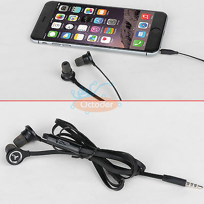 3.5mm Flat Cable In-ear Earphone for Samsung Galaxy Note 4 S4 S5 iPhone 6 5 LG
