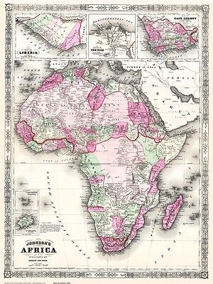 Africa 1864 - repro Johnson old map - 78x58cm - 30x23ins