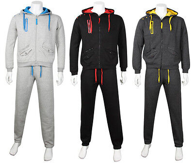 Men's Fine Casual Luxuary Fleece Full TrackSuit Jogging Top Bottom Hoodie Suit