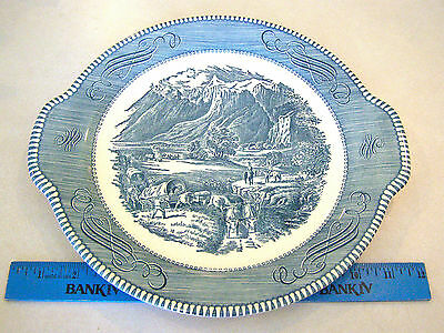 Beautiful Blue & White Porcelain Serving Plate - Early Settlers heading West