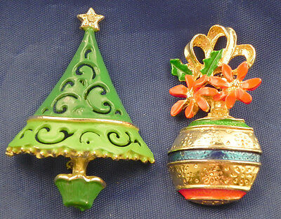 2 BEAUTIFUL CHRISTMAS TREE ENAMEL RHINESTONES GOLD TONE PIN BROOCH