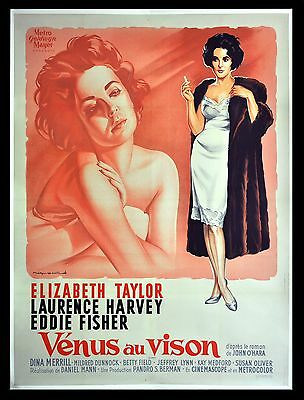 BUTTERFIELD 8 * CineMasterpieces FRENCH  ELIZABETH LIZ TAYLOR MOVIE POSTER PINK