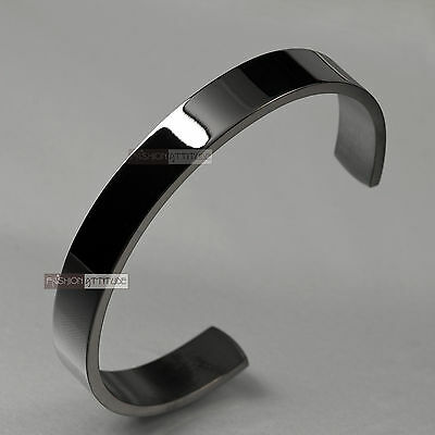 Black Bracelet Solid Stainless Steel Plain Polished Engravable Cuff Bangle