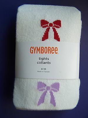 Gymboreee Girl Size 3-4 Winter Penguin Tights White with Purple /& Red Bows NEW