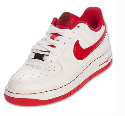 Nike Air Force 1 GS Youth Red White Sneakers Kids Casual Shoes New Size 5.5y-7y