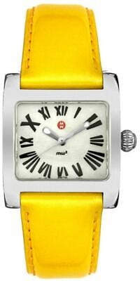 Michele Ladies MOP Dial Yellow Leather Strap Watch MWW07B000036