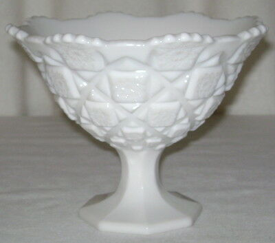 Vintage Westmoreland Old Quilt Pattern Milk Glass Footed Bowl Compote