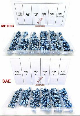 220 Pc Metric & SAE Hydraulic Lubrication Grease Zerk Fittings Assortment Set