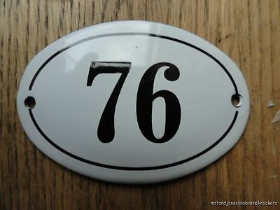 Small Antique Style Enamel Door Number 76 Sign Plaque House Number Furnituresign