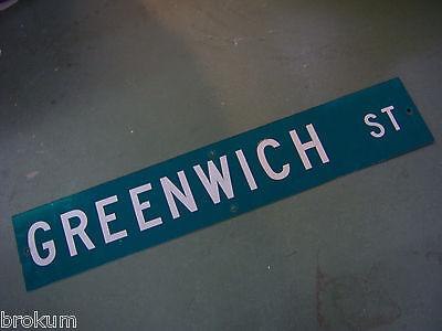 LARGE Vintage GREENWICH ST STREET SIGN 48 X 9 WHT LETTERING ON GRN BACKGROUND