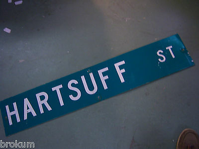 LARGE Vintage  HARTSUFF ST STREETSIGN 48 X 9 WHT LETTERING ON GRN BACKGROUND