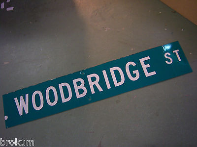 LARGE Vintage  WOODBRIDGE ST STREET SIGN 48 X 9 WHT LETTERING ON GRN BACKGROUND
