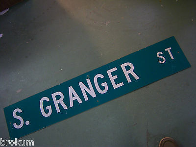 LARGE Vintage  S. GRANGER ST STREET SIGN 48 X 9 WHT LETTERING ON GRN BACKGROUND