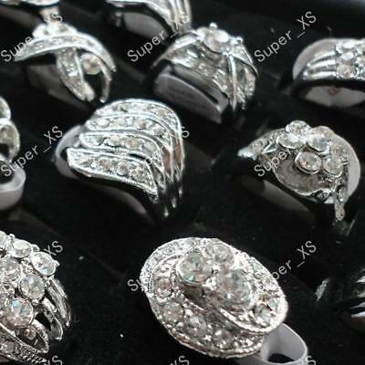 wholesale jewelry lots 5pcs multi-Rhinestone silver Plated Rings free shipping