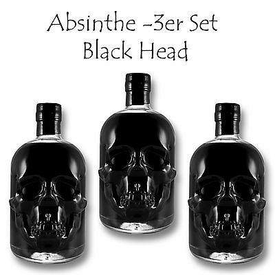 3x Black Head Absinthe 55% vol. - je 500ml - Totenkopf Flasche - Skull Bottle