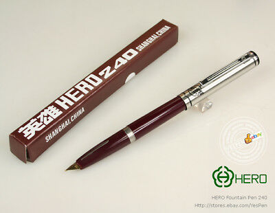 Early Hero Pen Vintage Fountain Pen 240 Arrow Inlaid Grip Coveted Fine Nib Red