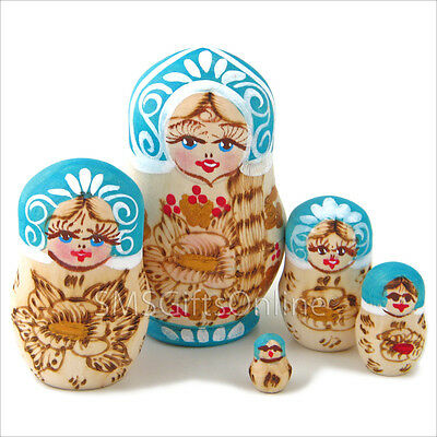 Hand Painted Set of 5 Russian Nested Stacking Nesting Doll 894