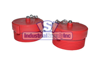 """2pk 1-1/2"""" NST(M) Polycarbonate Red Fire Hose Hydrant Plug and Chain"""