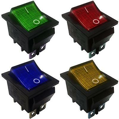 DPDT On-On Latching 6 Pins 2 Circuits Rocker Switch 15A 250VAC colour Light.