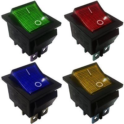 On-On Latching Rocker Switch DPDT  6 Pins 2 Circuits 15A 250VAC colour Light.
