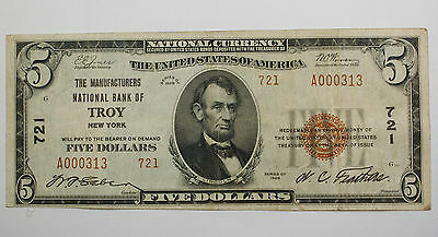 Series 1929 $5 National Currency Note, Manufacturers Bank Troy NY, 721