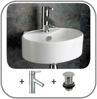 Moda 40cm x 30cm Wall Hung Wall Mounted Small Basin Bathroom Sink Tap Waste Set