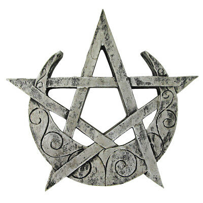 Crescent Moon Pentacle Plaque Silver Finish Dryad Design Pagan Wicca Pentagram