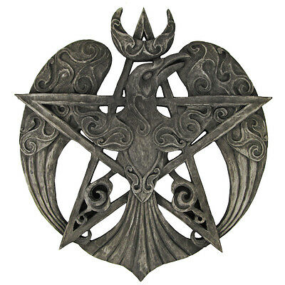 Large Raven Pentacle Plaque - Stone Finish - Dryad Design - Pagan Wiccan Crow