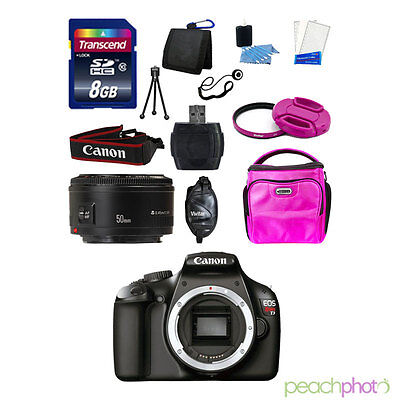 NEW Canon EOS T3 1100D SLR Camera with 50mm 1.8 SUPER VALUE PINK KIT USA