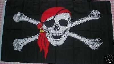 FLAG 5' x 3' Pirate Skull Moonlight 150 x 90cm Pirates of the Caribbean Party ft